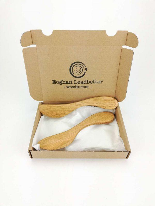 oak butter knife set
